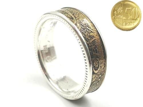 Münzring aus 50 Cent Münze kombiniert mit Silber personalisierbar
