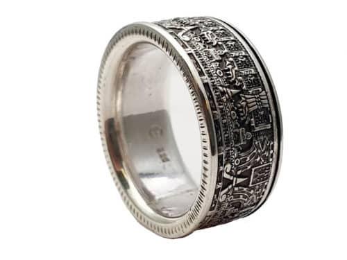 Münzring aus Atzteken Münze Silber personalisierte Gravur